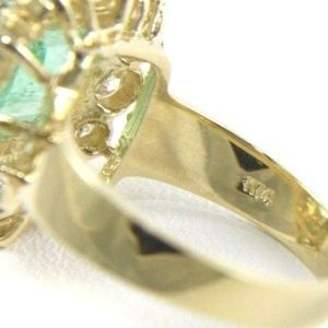 Jewelry - Square Emerald & Diamond Solitaire Ring YG 5.52Ct